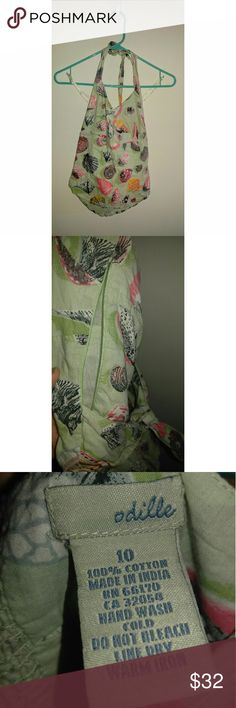 Odille seashell print halter Adorable sea green Odille seashell print top! Ties in back and zips up side. Size 10. Anthropologie Tops