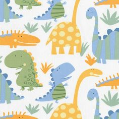 cotton dinosaur fabric | Cute Little Dinosaurs in Cheddar, Ice Blue, and Sage Green