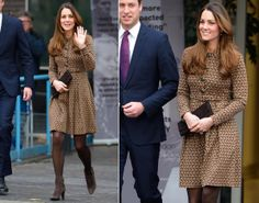 Kate Middleton has been known to recycle an outfit every now and then as a way of reminding us that she is, after all, just your ordinary girl. This brown patterned dress by Orla Kiely, which she paired with brown tights and ankle boots to match, must be one of her favorites. The Duchess of Cambridge seemed to be borrowing a page from her own style book when she put on this outfit for a charity visit to the Only Connect offices in London on Nov. 19, 2013, because we've seen this head-to-toe…