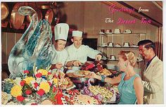 Old school Las Vegas - Desert Inn hotel casino buffet  vintage antique postcard