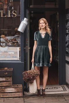Ingrid Velvet Tunic Dress. Velvet has to be the must have fabric of the season and this dark turquoise tunic dress certainly ticks the boxes. For a laid back yet smart look, accessorize with a chunky necklace and patterned boots.