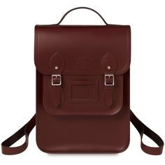 University of Cambridge Portrait Backpack in Leather Oxblood (280,460 KRW) ❤ liked on Polyvore featuring bags, backpacks, oxblood leather bag, backpack bags, genuine leather backpack, real leather bags and real leather backpack