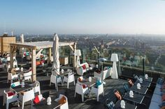 Beautiful scene from Hotel Ramada's rooftop terrace in Amsterdam, Netherlands. Decking made from UPM ProFi Deck, colour Stone Grey. Composite Decking, Rooftop Terrace, Grey Stone, Landscape Architecture, Sun Lounger, Sustainability, Composition, Street View, Scene