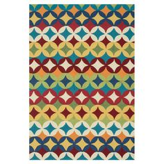 Hand-hooked rug with a geometric motif.    Product: RugConstruction Material: 100% PolyesterColor: M...