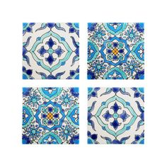 Mediterranean Tile Coasters - Set of 4 - Santorini Style Collection - Dot & Bo