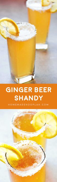Ginger Beer Shandy! Pair your favorite light beer, ginger ale, and spicy-sweet crystallized ginger for a flavorful beer shandy that'll help you get through those hot summer nights.   HomemadeHooplah.com