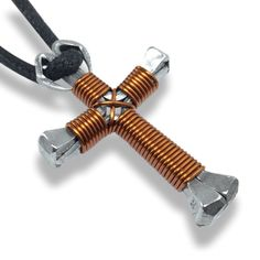 Brown Horseshoe Nail Cross Necklace - Fully Adjustable Necklace Cord Included - Crosses are Rugged enough for Boys yet Delicate enough for Girls! - Made in the USA out Real Horseshoe Nails The dimensi Horseshoe Nail Art, Horseshoe Crafts, Metal Sculpture Artists, Steel Sculpture, Miller Welding Helmet, Horse Shoe Nails, Welding Art Projects, Metal Welding, Diy Welding