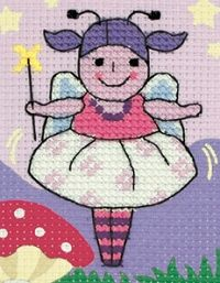 Fairy Sparkle Cross Stitch  children's kit on printed fabric, with the design area being part stitched. Each Anchor cross stitch kit is stitched on printed 6 count binca fabric and contains pre-sorted Anchor Stranded Cotton threads, extra practice fabric, 2 needles and easy to follow instructions.