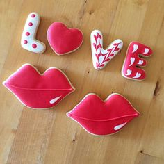 These royal icing covered Love and Lip themed vanilla sugar Cookies are a special treat and gift for the St. Valentines Day    These cookies are