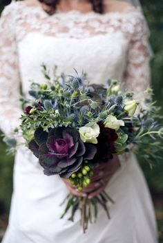 Autumn wedding bouquet, lisianthus, flowering kale, eryngium, hypericum berry