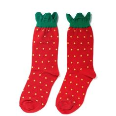 Hansel From Basel Strawberry crew socks (€9,11) ❤ liked on Polyvore featuring intimates, hosiery, socks, socks and tights, red, accessories, hansel from basel socks, red socks, hansel from basel and crew length socks