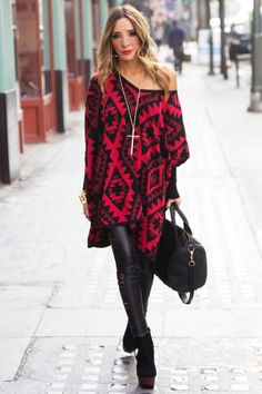 Tribal Print Sweater and a Slit Leggings