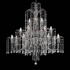 "Crystal Rain 37"" Wide 18-Light Crystal Chandelier"