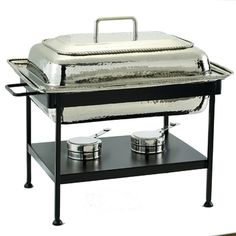 """8 Qt. Rectangular Polished Nickel Chafing Dish. 8 Qt. Stainless Steel food pan is oven safe to 350°F, water-bath design keeps food at the perfect serving temperature without drying out. Includes Sturdy Iron stand. Adjustable fuel holder takes standard """"Sterno"""" type gel fuel canisters (not included). Stylish and innovative design, includes Stainless Steel food pan, water pan and fuel holder. 21"""" x 15½"""" x 20"""" ~ 8Qt"""