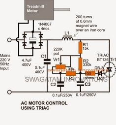 In this post we discuss a simple, accurate, high torque treadmill motor speed controller circuit which may be effectively installed in similar units for acquiring PWM controlled variable speed feature. Ac Circuit, Triangle Wave, Solar Inverter, Motor Speed, Circuit Design, Circuit Projects, Electronic Engineering, Diy Electronics, Motors