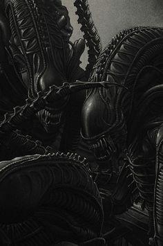 The work of illustrator and poster artist Rory Kurtz. Aliens 1986, Les Aliens, Aliens Movie, Giger Art, Hr Giger, Arte Alien, Alien Art, Alien Vs Predator, Saga Art