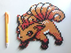 Vulpix Pokemon perler beads by TinyDoctorCrafts