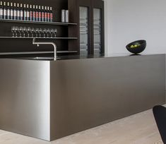 Close-up of bulthaup monoblock in stainless steel at the new showroom in Johannesburg, South Africa. To learn more visit www.livingkitchens.bulthaup.com #bulthaup #kitchens #modernkitchens
