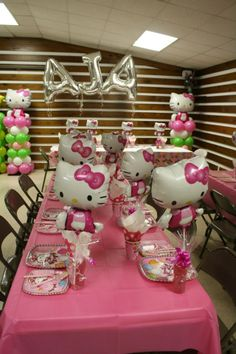 """Personalized """"AJA"""" Hello Kitty Balloon Theme Centerpiece Arch.  Featuring Lime Green and Bubble Gum Pink Balloons. For more info check us out at www.Facebook.com/MyeFavors"""