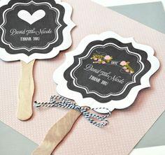 Personalized Chalkboard Wedding Paddle Fans :: Custom Wedding Favors avilible at tastebudsontheavenue.com