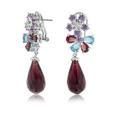 Bling Jewelry Purple CZ Briolette Teardrop Floral Omega Drop Cluster... ($51) ❤ liked on Polyvore featuring jewelry, earrings, red, cz earrings, teardrop earrings, purple earrings, drop earrings and flower earrings