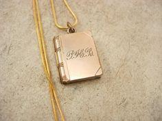 ANtique rose gold filled  Book Locket necklace  by vintagesparkles, $125.00