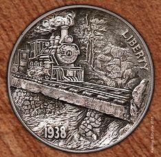 Hobo Nickel Train by Aleksey Saburov