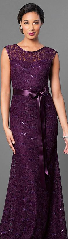 Long Lace Bridesmaid Dress with Sequin Accents