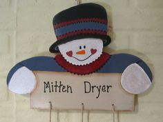 A functional yet fun decoration! This snowman is a mitten dryer. He is painted in colonial blue with a cranberry scarf and a black top hat