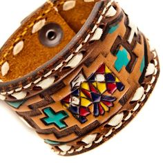 Leather Cuff Tribal Gypsy Boho Chic ❤ by rainwheel on Etsy