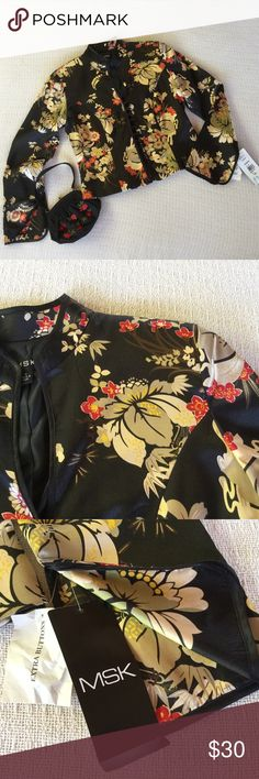 Black & Gold Oriental Style Satin Jacket or Top This lovely satin jacket has a Nehru collar and a gold, red & soft green floral pattern. The neckline has a deep v and the front closes with a series of satin loops . The cuffs are open vees. The bust measure is 19 inches. It has loops for a belt, but, no belt. Honestly I think the jacket too short to look good belted, I would cut off the loops. The length is 20 in. (424) MSK Jackets & Coats