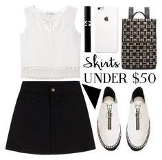 """little black skirt"" by foundlostme ❤ liked on Polyvore featuring MANGO, Alexander Wang, Balenciaga, Sisley Paris, blackandwhite, MINISKIRT, under50 and skirtunder50"