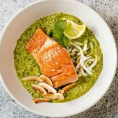 Crispy salmon with a coconut, mint and coriander sauce