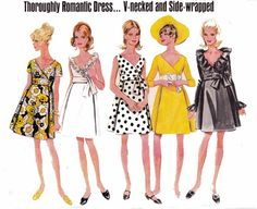 60s A Line MOD Wrap Dress sewing pattern Butterick 4875 Vintage Paper pattern Size 12 Bust 34 inches Mad Men 60s fashion