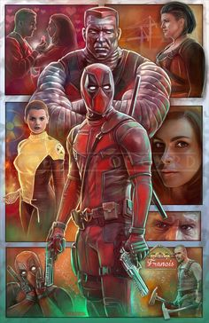 Deadpool Movie (collage) High Quality Art Print This print is signed by me and will be shipped with a protective backing board and clear bag. Avengers Movies, Superhero Movies, Marvel Dc Comics, Marvel Heroes, Marvel Universe, Superman Tattoos, Movie Collage, Deadpool Wallpaper, Deadpool Movie
