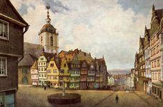 """Siegen. Die Nikolaikirche mit dem Häuserblock """"Klubb"""", 1869 abgebrannt. Historisierendes Aquarell von Wilhelm Scheiner, den Zustand von etwa 1850 darstellend."""