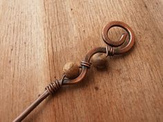 Rustic copper hair stick Simple wire hair sticks Hammered