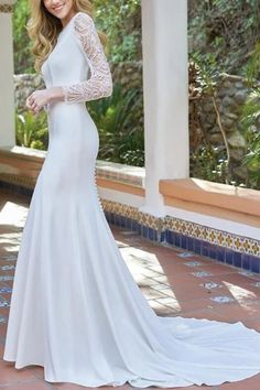 Sexy Fashion Round Neck Lace Long Sleeve Fishtail Evening Dress long evening dresses,party gowns evening,braidsmaid dresses,evening outfit ideas,party dresses long,beautiful prom dresses,long sleeve evening gowns,outfits dresses,romantic dresses,glamours dresses,formal gowns,prom dresses elegant  #eveningdresses #elegant #eveningdresseslong #cocktail #formal #prom #gowns #braidsmaiddresses #outfitsdresses #romantic #vintage #stunning Crepe Wedding Dress, Wedding Dress Sleeves, Long Sleeve Wedding, Wedding Gowns, Dresses With Sleeves, Lace Wedding, Event Dresses, Bridal Dresses, Bridesmaid Dresses