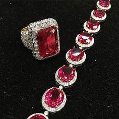 Men's ruby ring with diamonds & matching bracelet