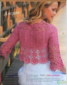 Receitas de Crochet: Bolero rosa com manga