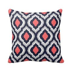 Amazon.com: Gray,Coral Pink and Navy Blue Moroccan Pillow Home Sofa Decorative 18X18 Inch Square Throw Pillow Case Decor Cushion Covers: Home & Kitchen