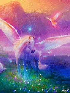 Pegasus Fantasy Myth Mythical Mystical Legend Wings GIF