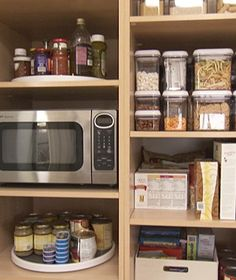 Organize your pantry in categories, keeping like items together.  Heavy items should always be kept on lower shelves.