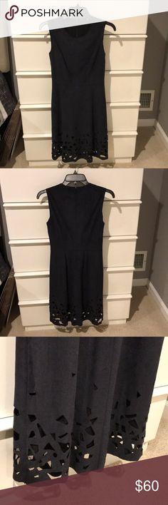 ELIE TAHARI DRESS navy blue/black suede fabric, beautiful cutout pattern along the bottom, midi length, zipper closure up the back, gently worn, good condition!! Elie Tahari Dresses Midi