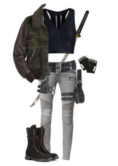 """""""Zombie Apocalypse - Outfit"""" by slightlyterrified ❤ liked on Polyvore featuring Tom Ford, Balmain, Rick Owens and Majesty Black"""