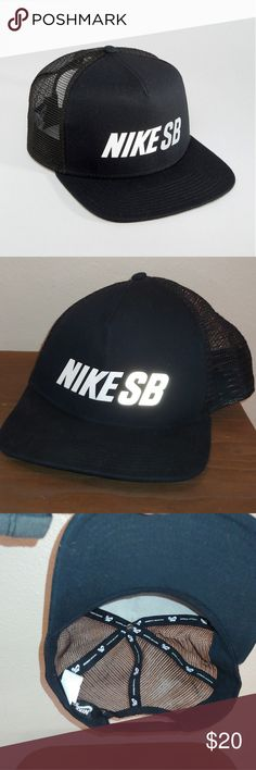 One size Black with white logo detail Nike SB Reflect Trucker Cap Snap Back  Black Stock image for reference. Nike Accessories Hats bbb226b4877