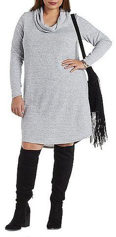 Plus Size Brushed Cowl Neck Shift Dress