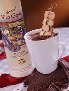 Kringle Kocoa: Dutch Chocolate Vodka, Hot Chocolate & 3 Roasted marshmallows on a small skewer