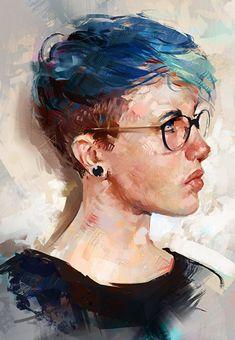 """Colour Study"" - Aaron Griffin {figurative art female head eyeglasses profile woman face digital painting #loveart} aarongriffinart.deviantart.com #OilPaintingPortrait"