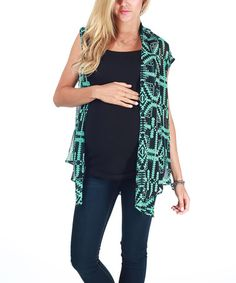 Take a look at this Mint Green & Black Tribal Sheer Maternity Vest by PinkBlush Maternity on #zulily today!